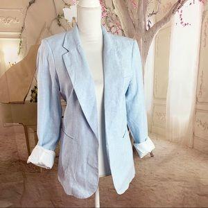 ADRIENNE VITTADINI Striped Linen Jacket Blazer